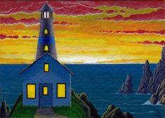 "ACEO Original Acrylic Painting ""East Bay Light"" Sunrise lighthouse sea signed #Realism"
