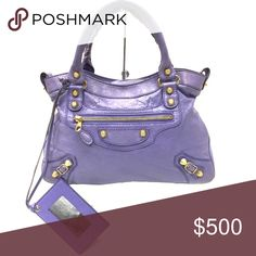 BALENCIAGA Arena Giant 12 City Mini Satchel Authentic Balenciaga purple Arena Giant 12 Mini City Satchel.  Has a little wear on the corners.  Doesn't have the extra strap. Balenciaga Bags Mini Bags
