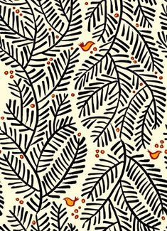 hand-drawn pattern of black fern-like leaves and branches with red and yellow birds and berries.
