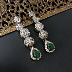 Simple Elegant Green Drop CZ Earrings Lightweight by JhumkaBali