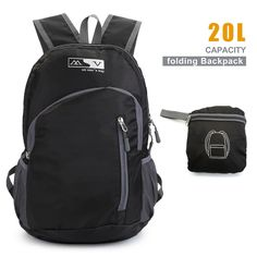 Lightweight Backpack TryAce Traveling Hiking Backpack with Men/Women Folding Daypack for Outdoor Biking Camping (Black). Lightweight Backpack: Lightweight and durable backpack. Avoid overweight lighten your load on you shoulders. The backpack has the most comfortable wide breathable mesh shoulder straps.Easy to Adjust the length and lock firmly. Folds into zippered inner pocket to fit anywhere. Unfolds from pocket to backpack, the built-in zip pocket to prevent the loss of valuable…