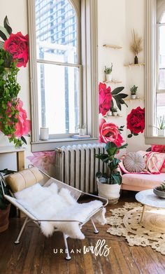 Artwork For Home Decoration Info: 3528763494 Pink Master Bedroom, Diy Hanging Shelves, Artwork For Home, Rich Home, Flower Wall Decals, Interior Design Magazine, Diy Garden Projects, Floral Wall Art, Wall Wallpaper