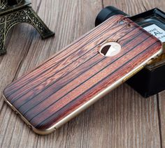 Slim Back Cover Wood Pattern+Metal Aluminum Frame Phone Case For iPhone 5S SE 6S 4.7/ 6 Plus 5.5