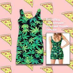 Save the #planet  ✌️ Keep the #peace ✌️ ♻️ Go ✌️green✌ ♻️ Oh and eat #pizza  This #dope #NOVELTY #GO #GREEN #FITTED #TANK #DRESS is now up on our #shop!  LINK'S IN BIO❣ || #gogreen #recycle #hipster #maryjane #leaves #nature #natural #wizkhalifa #hippie