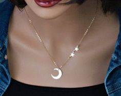 Star Necklace 18K Vermeil Gold Crescent moon necklace I by Muse411