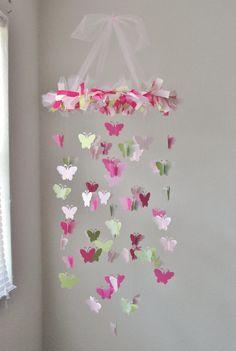 Butterfly Chandelier Mobile in Light pink dark by LittleBoPress, $60.00