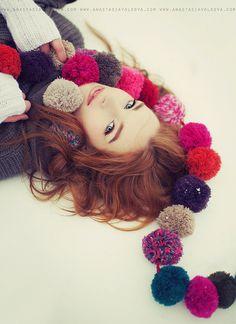 love the pompom scarf