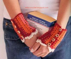 Crochet Fingerless Gloves ~ picture tutorial