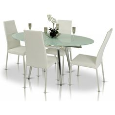 VIG Furniture VGGU2607 Modrest Brunch Extendable Table in Chrome with Glass Top