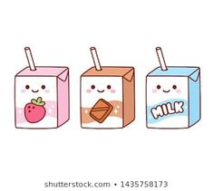 Cute cartoon milk box characters: strawberry, chocolate and regular milk. Kawaii milk cartons with drinking straw and smiling face. Cute Food Drawings, Cute Animal Drawings Kawaii, Doodle Drawings, Doodle Art, Easy Drawings, Kawaii Illustration, Japon Illustration, Doodles Kawaii, Cute Doodles