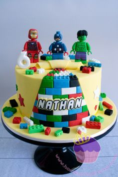 Lego Superhero Cake for Nathan