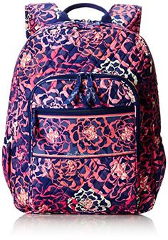 Vera Bradley Campus 2 Backpack Handbag, Katalina Pink, One Size Source by Colorful Backpacks, Cute Backpacks, Girl Backpacks, School Backpacks, Leather Backpacks, High School Bags, Leather Chain, Leather Bags, Swag