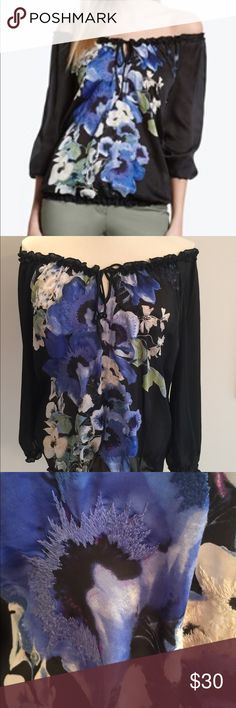 WHBM Off Shoulder Blouse Beautiful sheer black and blue pansy off-shoulder blouse with elastic bottom. White House Black Market Tops Blouses