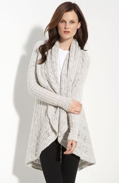 Cashmere Cardigan. A Lovely Pointelle And Cabled Knit Design Texture. An Indulgently Soft, Mid Weight Cardigan With A Wide Shawl Collar And Angled Front Hem.