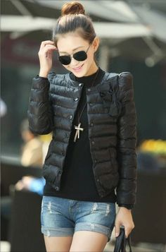 New women ZAB padded jacket to keep warm in winter, ladies fashion, decorative bow, Slim short jacket Outerwear & Padded