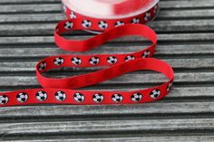 5 yards of Red football print ribbon for by scratchycat on Etsy, £1.75