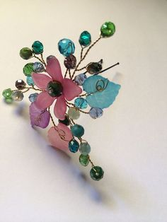 Wire wrapped jewelry handmade hair pin  pretty by FlowerRainbow