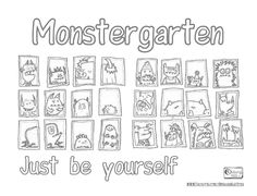 """Monstergarten is a fun book with a wonderful message: """"Just be yourself"""". I made this affirmation coloring page using a picture from their FB page & this online sketch creator: http://www.snapstouch.com/Sketch.aspx. The free 1-page PDF is on the OMazing Kids blog at: http://omazingkidsyoga.files.wordpress.com/2013/09/monstergarten-just-be-yourself-coloring-sheet.pdf  #LoveWhoYouAre #Affirmation #KidsYoga #YogaForKids #Coloring"""