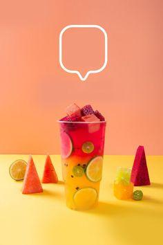 Food Graphic Design, Food Poster Design, Menu Design, Food Design, Candy Drinks, Fruit Drinks, Summer Fruit, Summer Drinks, Bubble Tea Shop