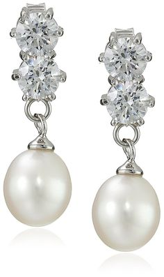 Sterling Silver Freshwater Cultured Pearl and Swarovski Cubic Zirconia Drop Earrings *** You can find more details by visiting the image link.