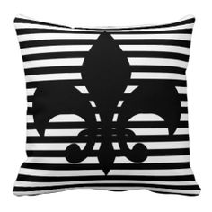 Fleurs-de-lis Black and White Striped Background Throw Pillows from #Ricaso .. prices starting from $28.95 for a 16x16