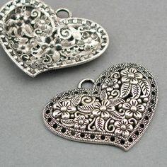 Love Heart Charms flower fancy heart Antique Silver tone 2pcs base metal Charms 31X41mm CM0216S