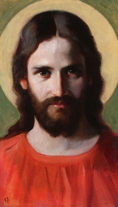 """RETRATO DE JESÚS"" POR JOHANN MICHAEL FERDINAND HEINRICH HOFMANN. (1824-1911)."