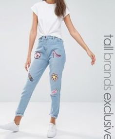 Liquor & Poker Tall Boyfriend Jeans With Multi Sequin Badges - Blue. Tall Jeans in longer sizes for tall women.