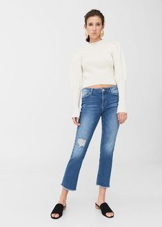 Straight-fit Cropped design Medium waist Medium faded wash Decorative rips Loops Five pockets Frayed finish Zip and one button fastening Medium Fade, Mom Jeans, Normcore, Legs, Denim, Pants, Women, Fashion, Gowns