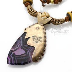 Banded Purple Agate Brass Copper Necklace Horn Beads Artisan Jewelry
