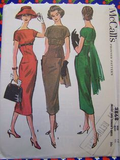 RARE VTG 1956 McCall's 3868 Tres Chic Dress by RaggsPatternStash