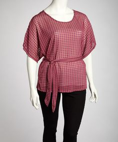 Take a look at this Pink Square Cape-Sleeve Top - Plus by Yummy on #zulily today! $15 !!