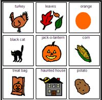 Fall Bingo Boardmaker PictureSET: Sub Category Halloween Bingo, Fall Halloween, Bingo Games For Kids, Work Activities, Educational Games, Autism, Teaching Ideas, Classroom Ideas, Ms