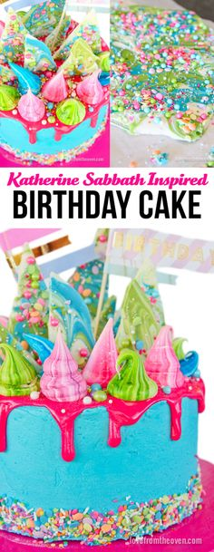 A whimsical, colorful, birthday cake inspired by Katherine Sabbath.