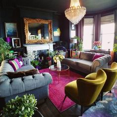 New Living Room Carpet Wall To Wall Side Tables Ideas Eclectic Living Room, Living Room Colors, Living Room Designs, Bold Living Room, Quirky Living Room Ideas, Colorful Living Rooms, Quirky Home Decor, Living Spaces, Living Room Carpet
