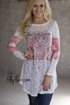Moonlight Path in Coral - A cute aztec top for spring from Filly Flair!