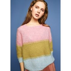 salg af Julie Genser fra Sandnes garn i silk Mohair Camilla, Chevron, Oversize Pullover, How To Purl Knit, Knit Patterns, Knitting Projects, Knit Crochet, Sweatshirts, Striped Sweaters