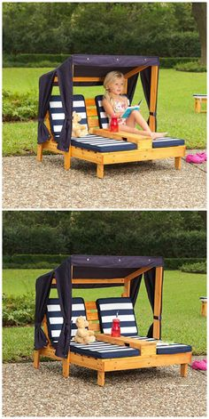 These garden or pool side relaxers are unique DIY pallet wood project. You can build this pair for spending time for your loved one or a safe and relaxing piece of furniture for your kids. The shade will safeguard from any harmful effects of sun rays and Diy Pallet Projects, Projects For Kids, Diy For Kids, Pallet Patio Furniture, Kids Furniture, Kids Outdoor Furniture, Repurposed Furniture, Furniture Plans, Luxury Furniture