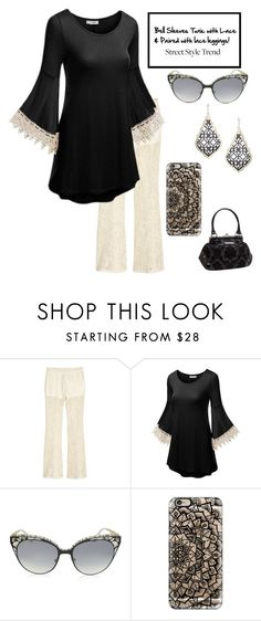 """""""Styled with lace, love the lace leggings :  contests > New Trend: Bell-Sleeve Dresses"""" by im-karla-with-a-k ❤ liked on Polyvore featuring H&M, Jimmy Choo, Casetify, Kendra Scott and Rock Rebel"""