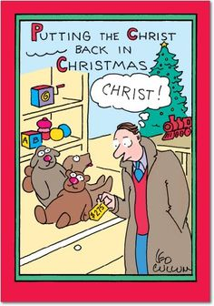 B5702 Box Set of 12 Christ Back in Xmas Leo Cullum Christmas Cartoon Funny Christmas Note Card with Envelopes *** Check out the image by visiting the link. (This is an affiliate link)