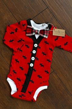 Baby Boy Christmas Moose Bodysuit Cardigan Plaid perfect !!! Seriously how cute is this I love cardigans. I love plaid. Moose makes me think of Sam Winchester. Everything about this is perfect.