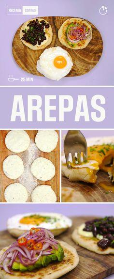 Las Arepas son ricas, simples y van bien con todo. Mirá como hacerlas caseras para comer en cualquier momento! Mexican Food Recipes, Vegetarian Recipes, Healthy Recipes, Yummy Appetizers, Appetizer Recipes, Tasty Bites, Creative Food, Diy Food, I Love Food