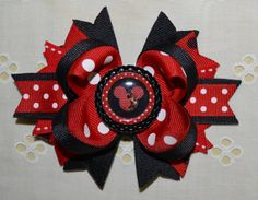 Minnie Mouse Inspired Bottlecap Boutique Hair Bow by buddhabelly10, $6.50