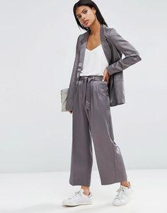 ASOS Premium - Gonna pantalone da abito in raso