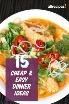 "15 Cheap and Easy Dinners | ""These 15 recipes will save you time and money, plus reward you with full bellies and happy faces at the dinner table. Calling for pantry staples and spices you're sure to have on hand, these recipes require only a handful of ingredients from the store. "" #easy #easyrecipes #quickandeasy #easyrecipesideas Healthy Meal Prep, Healthy Breakfast Recipes, Healthy Recipes, Easy Dinners, Quick Easy Meals, Greek Lemon Chicken, Happy Faces, Stuffed Hot Peppers, Dinner Table"