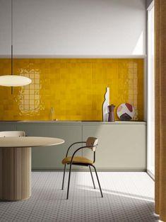 Kitchen Furniture, Kitchen Decor, Furniture Design, Furniture Ideas, Home Interior, Interior Design Kitchen, Yellow Interior, Interior Modern, Yellow Tile