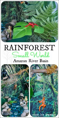 Rainforest Small World & Sensory Play by Crayon Box Chronicles. Made from a recycled cardboard box, nature items, and sensory materials.