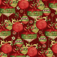 Items similar to Believe in the Season - Per Yd - Clothworks by Sue Zipkin - Ornaments on Red on Etsy Creative Gift Wrapping, Creative Gifts, Christmas Wishes, Christmas Cards, Christmas Fabric, Layer Cake Patterns, Decoupage, Etsy Fabric, Christmas Border