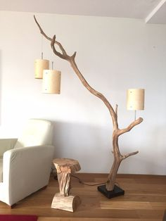 Floor lamp and Arc Lamp, weathered old Oak branch, Total height 222 cm, delivery with three real wood veneer lampshade around 18 cm x 23 cm high. This arc lamp is suitable as a pendant and as Reading Lamp, next to your chair. Lamp base is made of dark sto Arc Lamp, Arc Floor Lamps, Modern Floor Lamps, Modern Flooring, Wood Flooring, Driftwood Lamp, Creation Deco, Room Lamp, Bed Room