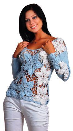 Вязаная кофточка с цветочными мотивами. Шикарный цветочный пуловер схема   Я Хозяйка